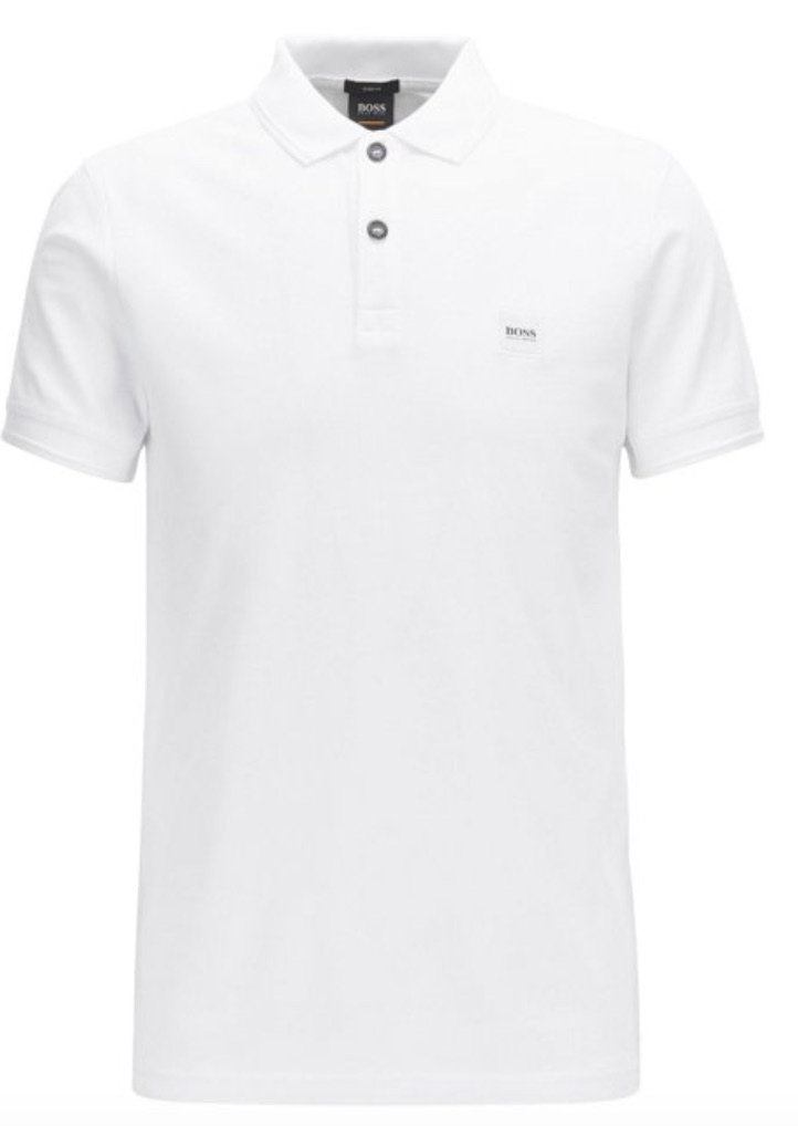 BOSS ORANGE Witte pique polo