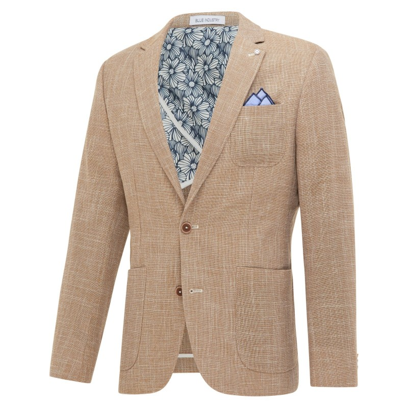 BLUE INDUSTRY Beige colbert van blue industry, slim fit model.
