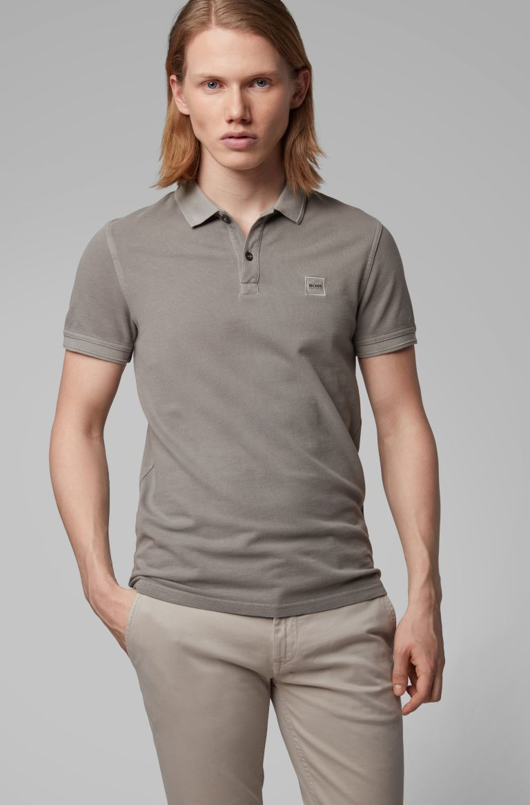 HUGO BOSS Beige bruine stretch polo van Hugo Boss, slim fit model.