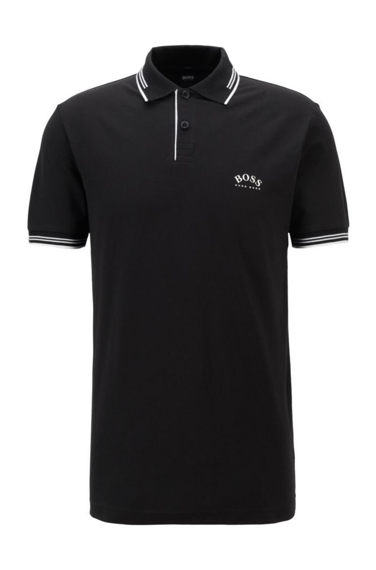 HUGO BOSS Korte mouw polo in zwart van Hugo Boss Athleisure. Katoen stretch, slim fit model.