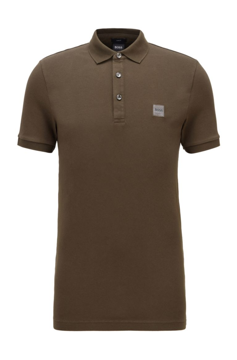 HUGO BOSS Polo groen slim fit stretch Hugo Boss