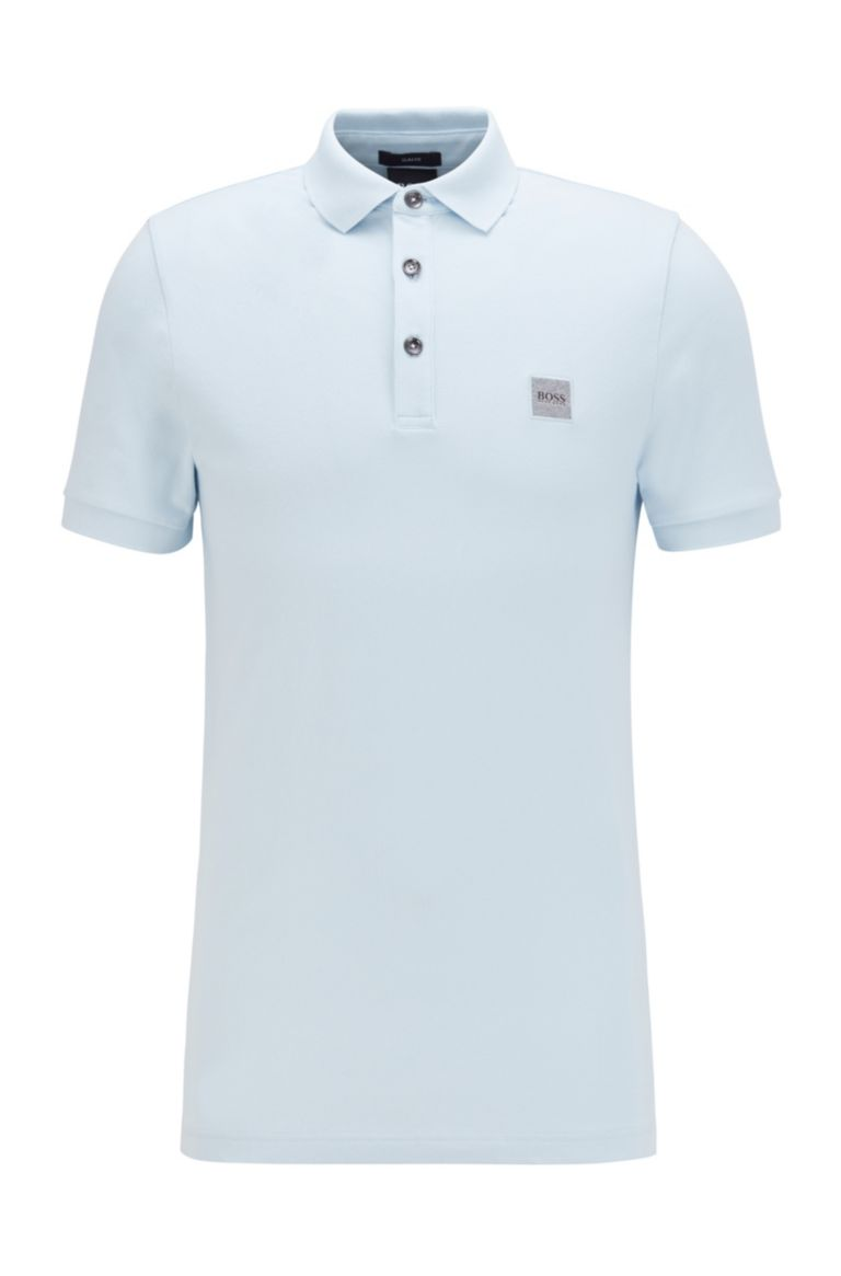 HUGO BOSS Polo licht blauw slim fit stretch Hugo Boss