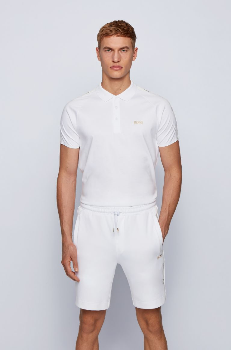 HUGO BOSS Witte slimfit stretch polo van Hugo Boss