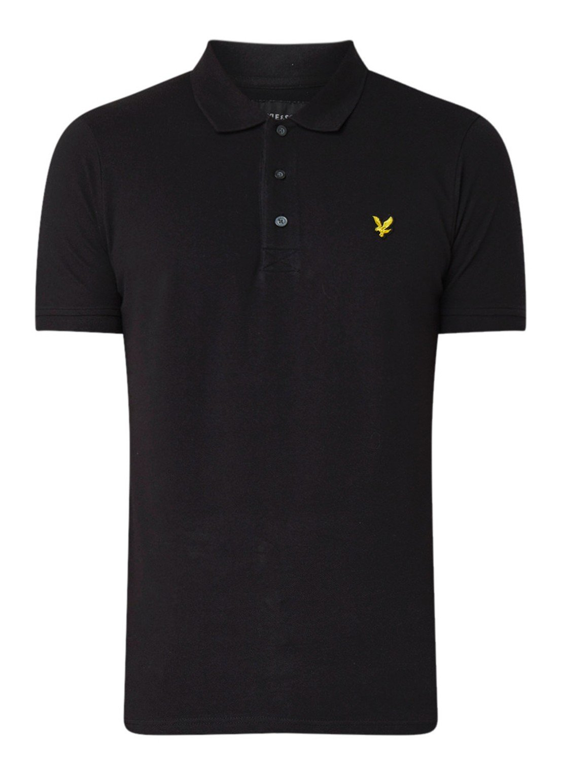 Lyle&Scott Polo slim stretch in het zwart, slim fit model.