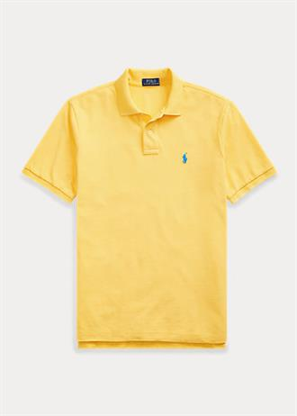 RALPH LAUREN Gele polo slim fit model, met blauwe polo player op de borst.