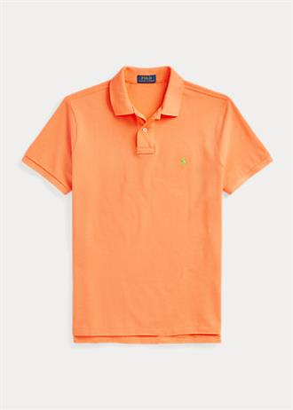 RALPH LAUREN Oranje polo van Polo Ralph Lauren slim fit model, met groene polo player op de borst.