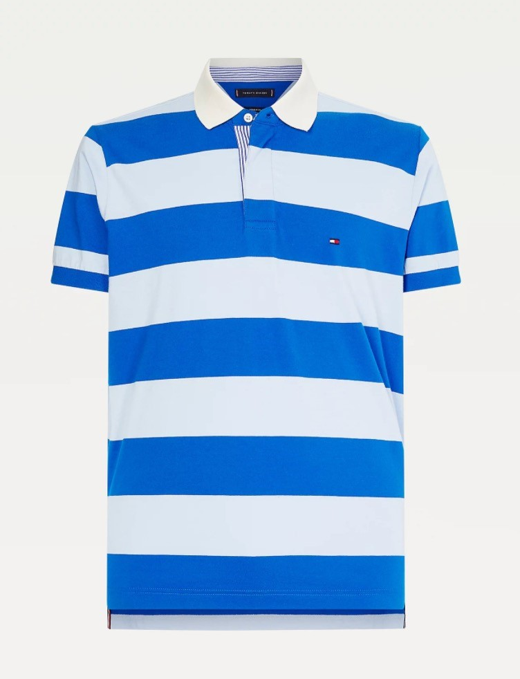 TOMMY HILFIGER Blauwe streep polo van Tommy Hilfiger, regular fit.