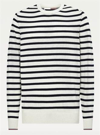 TOMMY HILFIGER Trui Off White/blauw bretonse streep Tommy Hilfiger